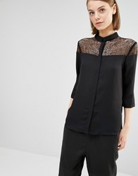 Selected Daryn Shirt With Cobweb Lace Yoke Black