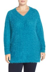 Plus Size Women's Sejour 'Happy' Eyelash Yarn V Neck Sweater Teal Ocean