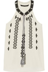 W118 By Walter Baker Kadija Embroidered Woven Top Ivory