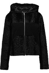 Alexander Wang T By Paneled Faux Fur And Suede Hooded Jacket Black