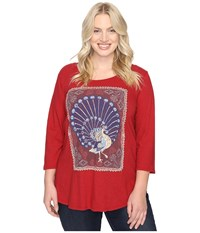 Lucky Brand Plus Size Peacock Rug Tee Rio Red Women's T Shirt