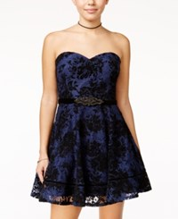 City Studios Juniors' Strapless Lace Fit And Flare Dress Navy Black