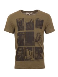 Garcia Printed Cotton T Shirt Green