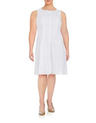 Ivanka Trump Plus Eyelet Fit And Flare Dress White