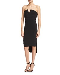 Brandon Maxwell Strapless Pleat Back Crepe Cocktail Dress Black Size 16