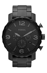 Men's Fossil 'Nate' Chronograph Bracelet Watch 50Mm Black