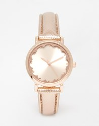 New Look Scallop Face Rose Gold Watch Rosegold