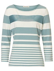 Betty Barclay Embellished Stripe Top Blue Cream