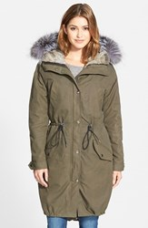 Andrew Marc New York Women's Andrew Marc Oversize Army Parka With Genuine Fox Fur Trim And Rabbit Fur Liner Olive
