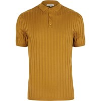 River Island Mens Dark Yellow Ribbed Muscle Fit Polo Shirt