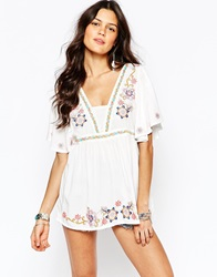 Parisian Kimono Top With Floral Embroidery White