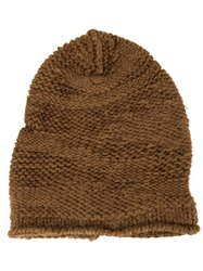 Isabel Benenato Chunky Knit Beanie Brown