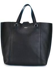 Furla Logo Plaque Tote Black