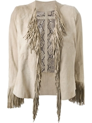Sylvie Schimmel Fringed Jacket Nude And Neutrals
