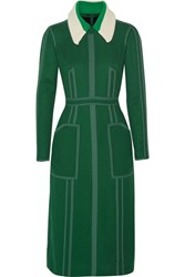 Burberry Prorsum Stitched Georgette Dress Dark Green