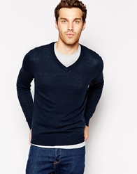 United Colors Of Benetton Jumper With V Neck Navy