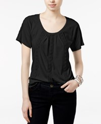 Tommy Hilfiger Delphine Crochet Trim Top Only At Macy's Deep Black
