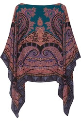 Etro Printed Wool And Silk Blend Poncho Blue