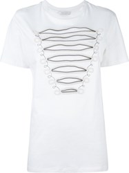 Balmain Pierre Embroidered Detailing T Shirt White