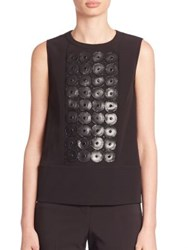 Piazza Sempione Leather And Bead Embroidered Sleeveless Top Black