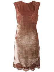 Alberta Ferretti Lace Insert Dress Brown