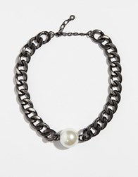 Pilgrim Statement Hematite Plated Necklace With Large Faux Pearl Hematite Plated Silver