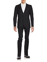 Sand Solid Wool Suit Black