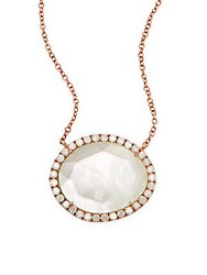 Meira T White Topaz Mother Of Pearl Doublet 14K White And Rose Gold Pendant Necklace