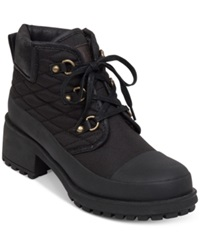 Lucky Brand Women's Akonn Short Lace Up Faux Fur Hiker Booties Women's Shoes Black