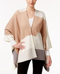 Alfani Colorblocked Wool Cape Only At Macy's Camel