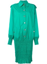 Moschino Vintage Ruched Hem Shirt Dress Green