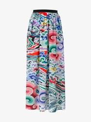 Mary Katrantzou Full Length Silk Skirt Multi Coloured Black Multicoloured White