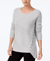 Bar Iii Asymmetrical Grommet Detail Sweater Only At Macy's Light Heather Grey