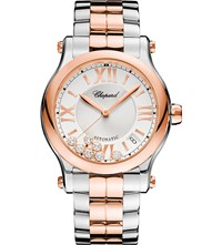 Chopard Happy Sport Medium Automatic 18Ct Rose Gold Stainless Steel And Diamond Watch