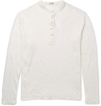 Massimo Alba Slim Fit Linen Henley T Shirt Neutrals