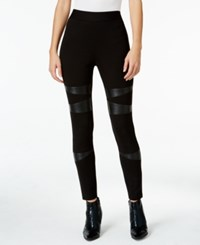 Vince Camuto Two By Faux Leather Trim Leggings Rich Black