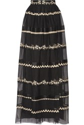 Temperley London Almas Satin Trimmed Embroidered Tulle Maxi Skirt Black