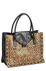 Loeffler Randall 'Work' Tote Cheetah Shiny Black Hardware