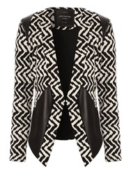 Jane Norman Monochrome Chevron Blazer Black