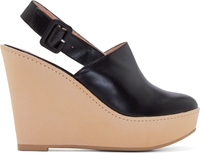 Robert Clergerie Black Leather French Wedge Mules