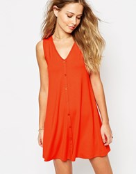 Asos Sleeveless Swing Dress With Button Front Red