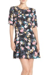 Women's Charles Henry Floral Print Drop Waist Shift Dress
