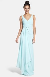 Women's Monique Lhuillier Bridesmaids Sleeveless V Neck Chiffon Gown Mint Shell