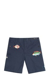 Pt01 Fish Embroidered Shorts Navy