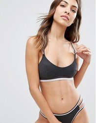 New Look Sports Elastic Bralet Dark Grey