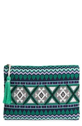 Sole Society 'Noelle' Geometric Print Pouch Blue Teal Multi