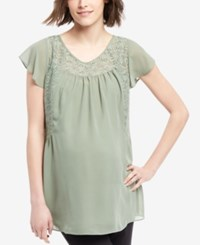 Motherhood Maternity Lace Yoke Short Sleeve Blouse Sea Spray