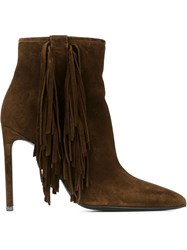 Saint Laurent Fringed Stiletto Boots Brown