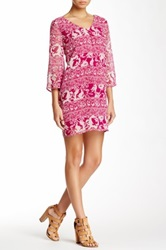 Pink Owl Flare Sleeve Print Shift Dress Pink