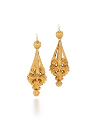 Fred Leighton Victorian Gold Foliate Scrollwork Earrings